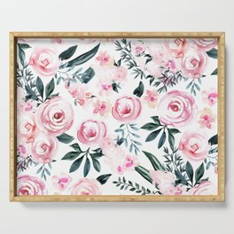 Floral Rose Watercolor Flower Pattern Serving Tray