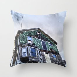 Empty Shambles, Abandoned Building Throw Pillow