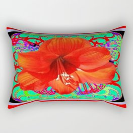 Italian  Style Design Red Amaryllis Abstract Rectangular Pillow