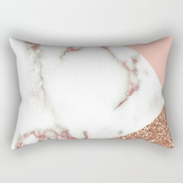 Marble - pink and gold Rectangular Pillow