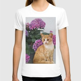 Cat and a Vase of Hydrangea T-shirt