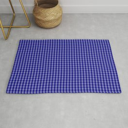 Small Navy Blue Check Plaid Pattern Rug