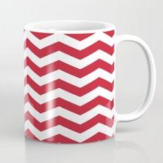 Red and White Bold Chevron Stripes Mug