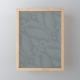 Fancy Leaves Scroll Damask Night Watch Pewter Green Pattern Framed Mini Art Print