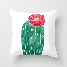 cactus with little red flower Throw Pillow