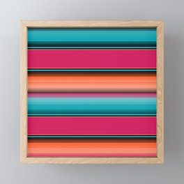 Traditional Mexican Serape in Teal Framed Mini Art Print
