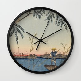 Summer Trees Blossoms and River Ukiyo-e Japanese Art Wall Clock
