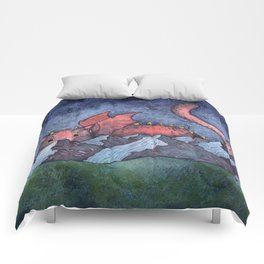 Dragon Cat Watercolor Comforters