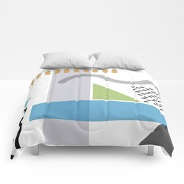 Geometric abstract art, pastel tones shapes and dots print Comforters
