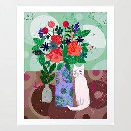 Still Life with White Kitty Art Print