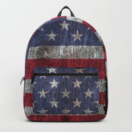 USA flag - on grainy wood Backpack