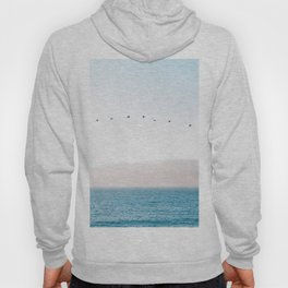 Modern Minimalist Pastel Blue Landscape Ocean Mountains Flock Of Birds Flying Hoody