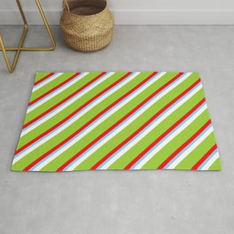 Colorful Red, Light Sky Blue, White, Green, and Dark Green Colored Stripes Pattern Rug