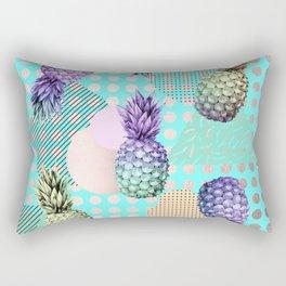 Pineapple Summer Rainbow Rose Gold Rectangular Pillow
