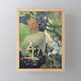 The White Horse by Paul Gauguin Framed Mini Art Print