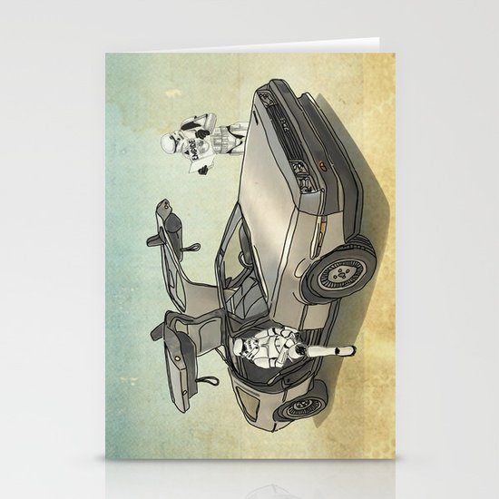 Lost, searching for the DeathStarr _ 2 Stormtrooopers in a DeLorean  Stationery Cards