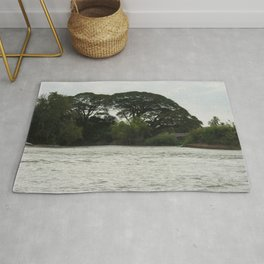 Tropical Forest Trees Evening Mekong River Ladscape, Laos Rug