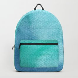 Blue Green Turquoise Watercolor Texture Backpack