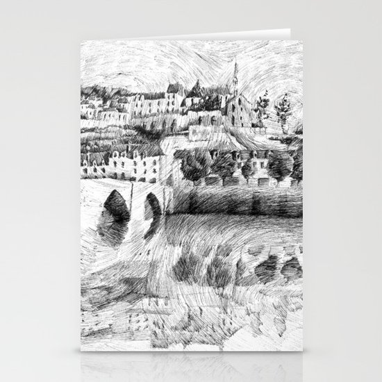 Terrasson village - Black ink Stationery Cards