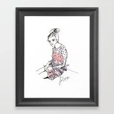 Lolita in a sheer pink polka dot dress  Framed Art Print
