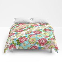 Pastel Mandala and Rose Striped Pattern Comforters
