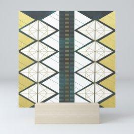 Modern Gold Aqua Geometric Pattern Mini Art Print