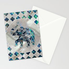 Silver Framed Elephant on Abalone and Pearl Stationery Cards