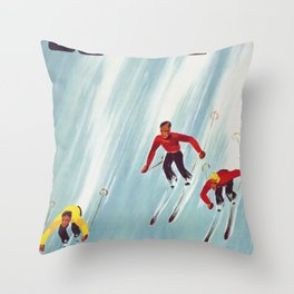 Suisse Vintage Ski Poster Throw Pillow