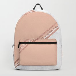Modern stylish rose gold glitter geometric stripes blush pink white marble color block Backpack