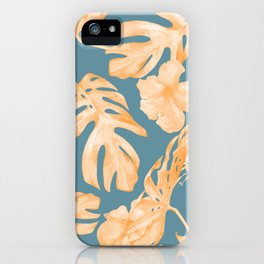 Island Hibiscus Palm Coral Teal Blue iPhone Case