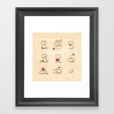 Cats and hearts Framed Art Print