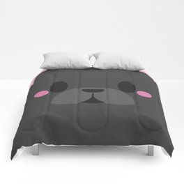 Black French Bulldog Block Comforters