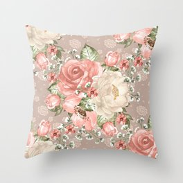 Peach Blush Vintage Watercolor Floral Pattern Throw Pillow
