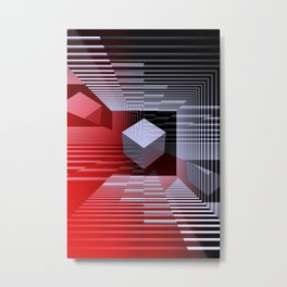 illusion red, white and black Metal Print