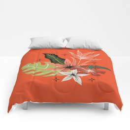 tropical bouquet on orange Comforters