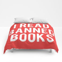 I Read Banned Books - White Font Comforters
