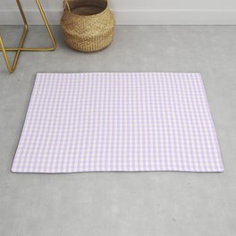 Chalky Pale Lilac Pastel and White Mini Gingham Check Plaid Rug