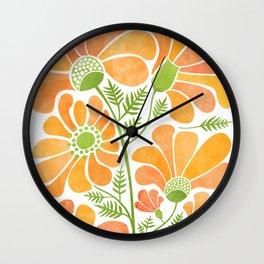 Happy California Poppies / hand drawn flowers Wall Clock