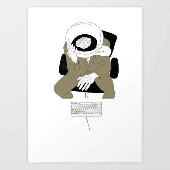 MORNING COFFEE IN THE OFFICE Art Print
