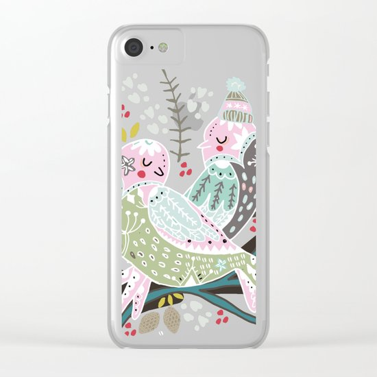 Holiday Birds Love Clear iPhone Case