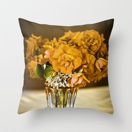 Ochre Roses in a Glass Vase Throw Pillow