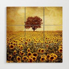 lone tree & sunflowers field Wood Wall Art