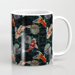 Meditative Koi Fish Pattern Black Coffee Mug
