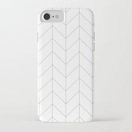 Herringbone Chevron (Thin Black On White) iPhone Case