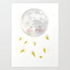 Moon and astronauts! Art Print