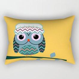 Cute owl sitting on a branch Rectangular Pillow