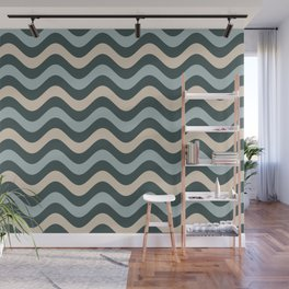 Blue Willow Green & Alpaca Wool Cream Wavy Horizontal Stripes on Night Watch Green Wall Mural