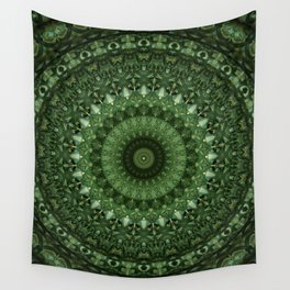 Mandala in olive green tones Wall Tapestry