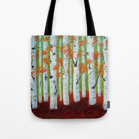 Atumn Birch trees - 5 Tote Bag