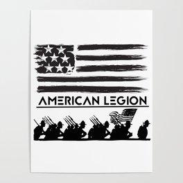American legion members american flag military veteran Poster